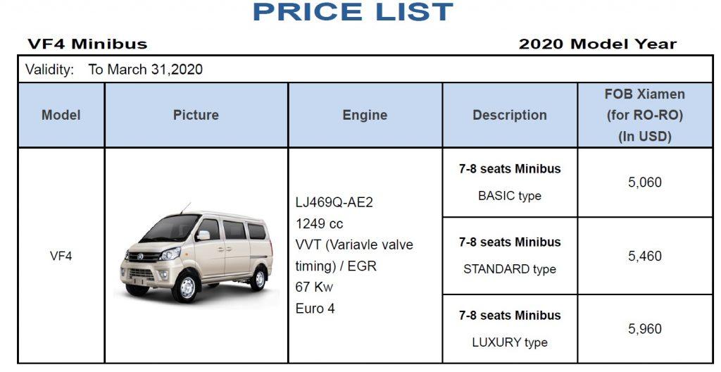 mini buses price list